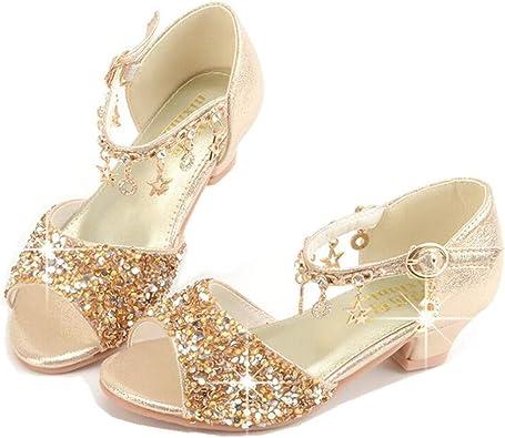 Kids Girls Sequin Bow Princess Dress Shoes Low-heel Party Toddler Dance Sandals