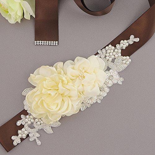 Fleurs Des Femmes Ulapan Les Perles Écharpe De Ceinture De Robe De Mariée Ceinture De Ceinture De Mariée, S172 Marron