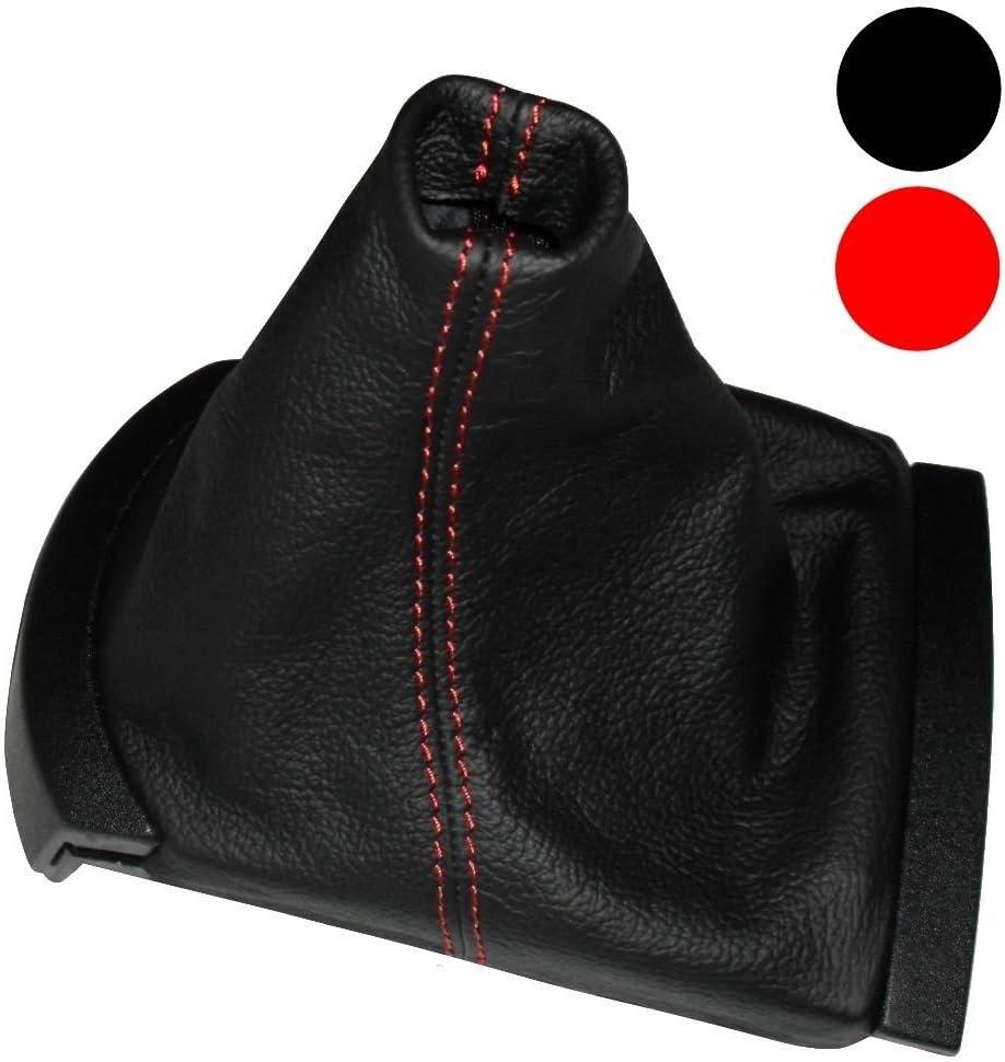 AERZETIX: Funda para palanca de cambios 100% PIEL GENUINA negro con costuras rojo