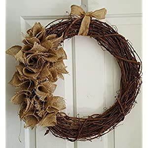 "Rustic Grapevine Wreath with Burlap 18"" 27"