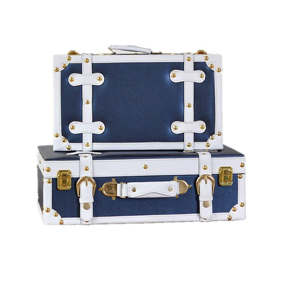 Allibuy Koffer aus Holz Set 2 Jahrgang Lagerung Koffer Retro Schatztruhe Vintage-Aufbewahrungsbehälter, Koffer Aufbewahrungsbox Schule Home Decor (Farbe : Blau, Größe : L+S)