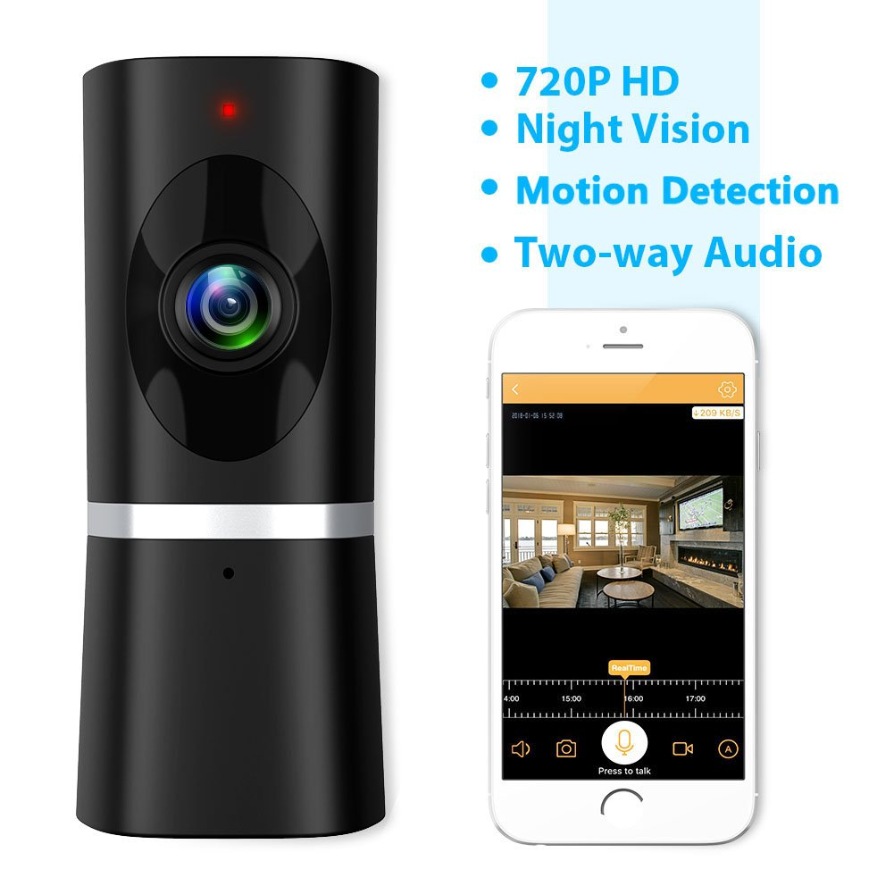 Security Camera Wireless, Takihoo WiFi IP Home Baby Pet Surveillance Camera Monitor Indoor 720P HD Motion Detection 2-Way Audio Night Vision 180 Wide Angle Fisheye Remote Viewing IR Camera Panoramic