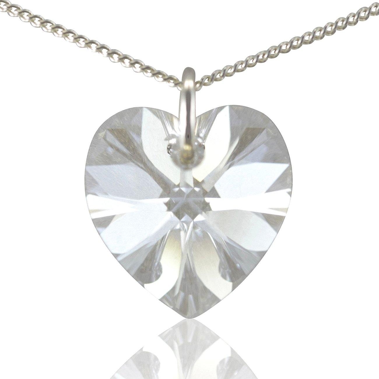 14MM Diamond White Genuine Swarovski Heart Crystal 925 Silver Necklace 16