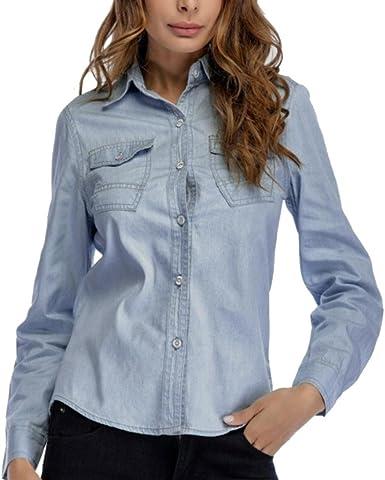 Sexyville Camisa de Tela Vaquera (Denim) para Mujer, Manga Larga, Estilo desenfadado Azul Claro S: Amazon.es: Ropa y accesorios