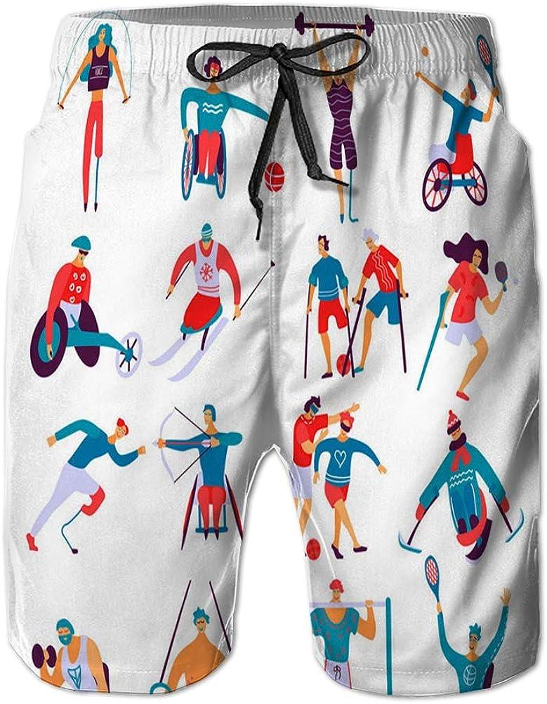 LJKHas232 121 Shorts de baño Casuales para Hombre Shorts de Playa Impresos de Secado rápido para Personas discapacitadas Sport FLA