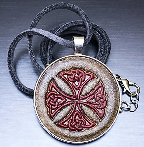 [Red Maltese Celtic Knot Cross Hand-Painted Tooled Veg Tanned Leather Pendant Necklace] (Larp Costumes Uk)