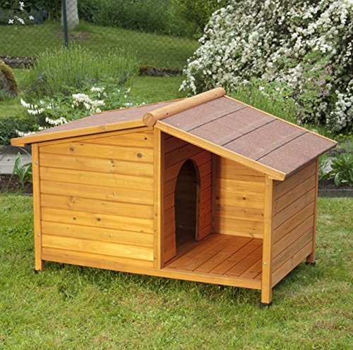 L  132 cm x 85 cm x 86 cm L x W x H Oiled Fir Wood 4 Season Dog Kennel with Sheltered Patio Ideal Kennel to Keep your Four Legged Friend Predected From All the Elements (L  132 cm x 85 cm x 86 cm L x W x H)