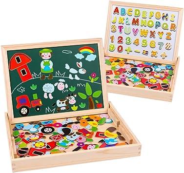 Uping Puzzle de Madera Magnético Tablero de Dibujo de Doble Cara Magnético 155 Piezas Avec Número y Alfabeto para niños de 3 años+: Amazon.es: Juguetes y juegos
