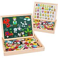 Uping Puzzle de Madera Magnético Tablero de Dibujo de Doble Cara Magnético 155 Piezas Avec Número y Alfabeto para niños…