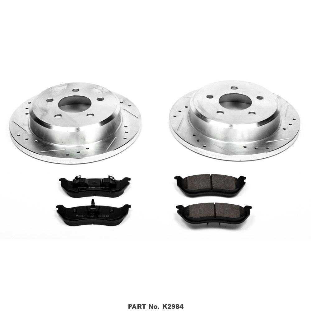 Power Stop K2984 Rear Brake Kit with Drilled//Slotted Brake Rotors and Z23 Evolution Ceramic Brake Pads