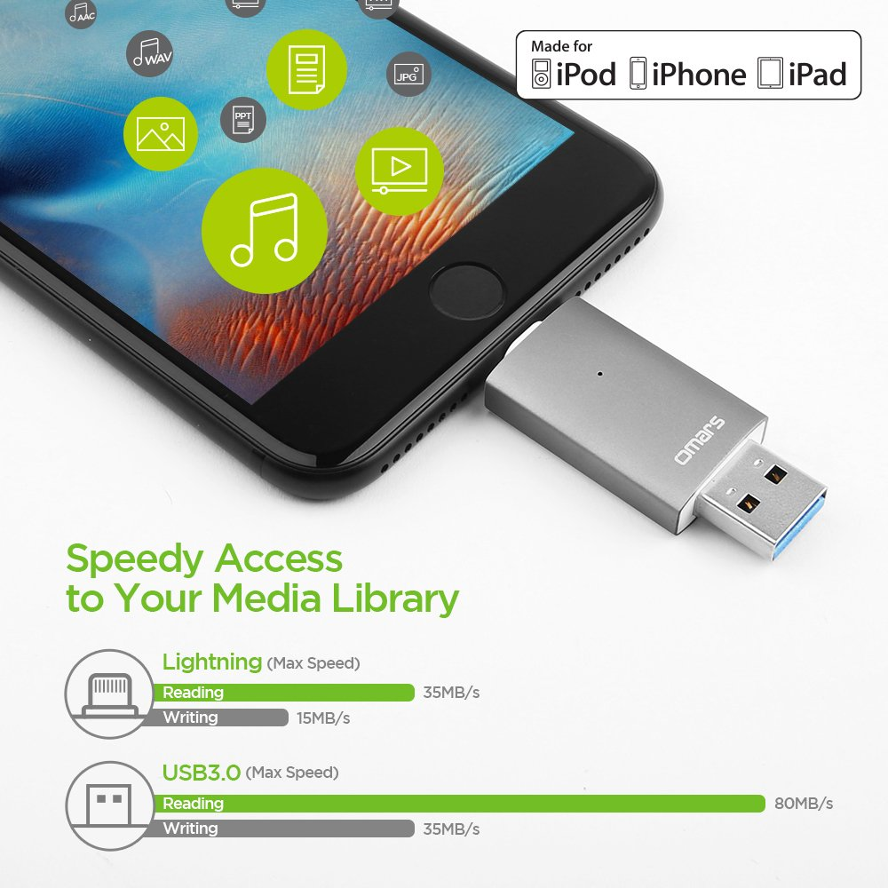 iPhone Lightning Flash Drive 32GB, Omars OTG USB 3.0 External Storage Memory Stick Adapter Expansion for iPhone, iPad, iPod, Mac, Android and PC [Apple MFI Certified] (32G, Space Grey)