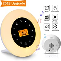 Wake Up Light,Elfeland Radio Alarm Clocks LED Bedside Lamp Touch Control Night Light Sunrise Sunset Simulator 8 Nature Sounds 7 Colors Changeable FM Snooze Brightness Adjustable Ideal for Bedroom Gift