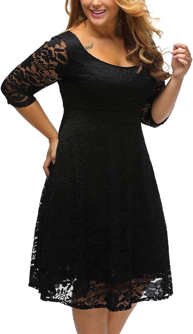 Schwarzes Plus-Size-Kleid mit Spitze