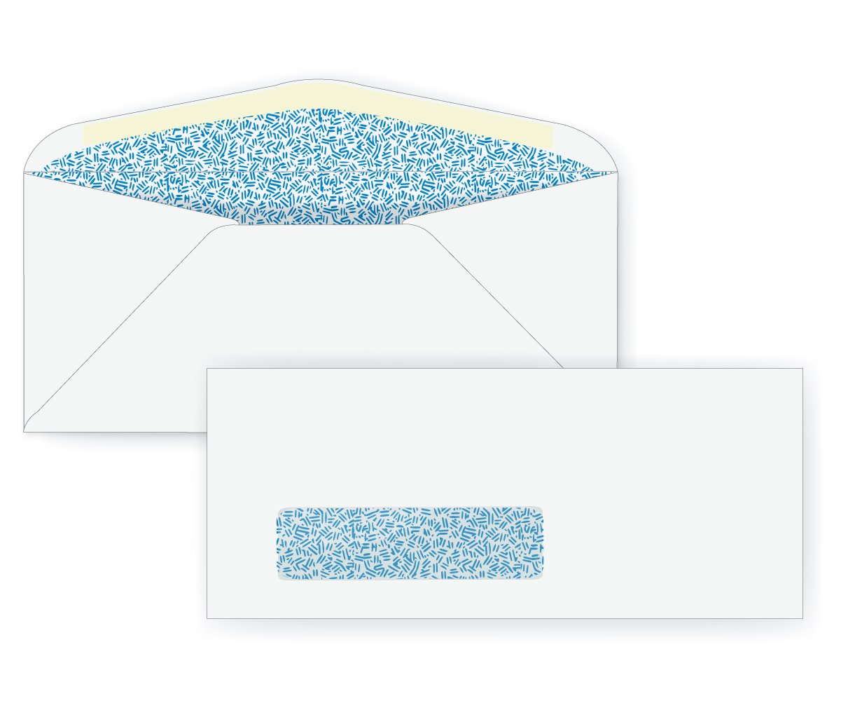 #8 5/8 Window Envelope - Blue Inside Tint - 24# White (3 5/8 x 8 5/8) - Window Envelope Series (Box of 500)