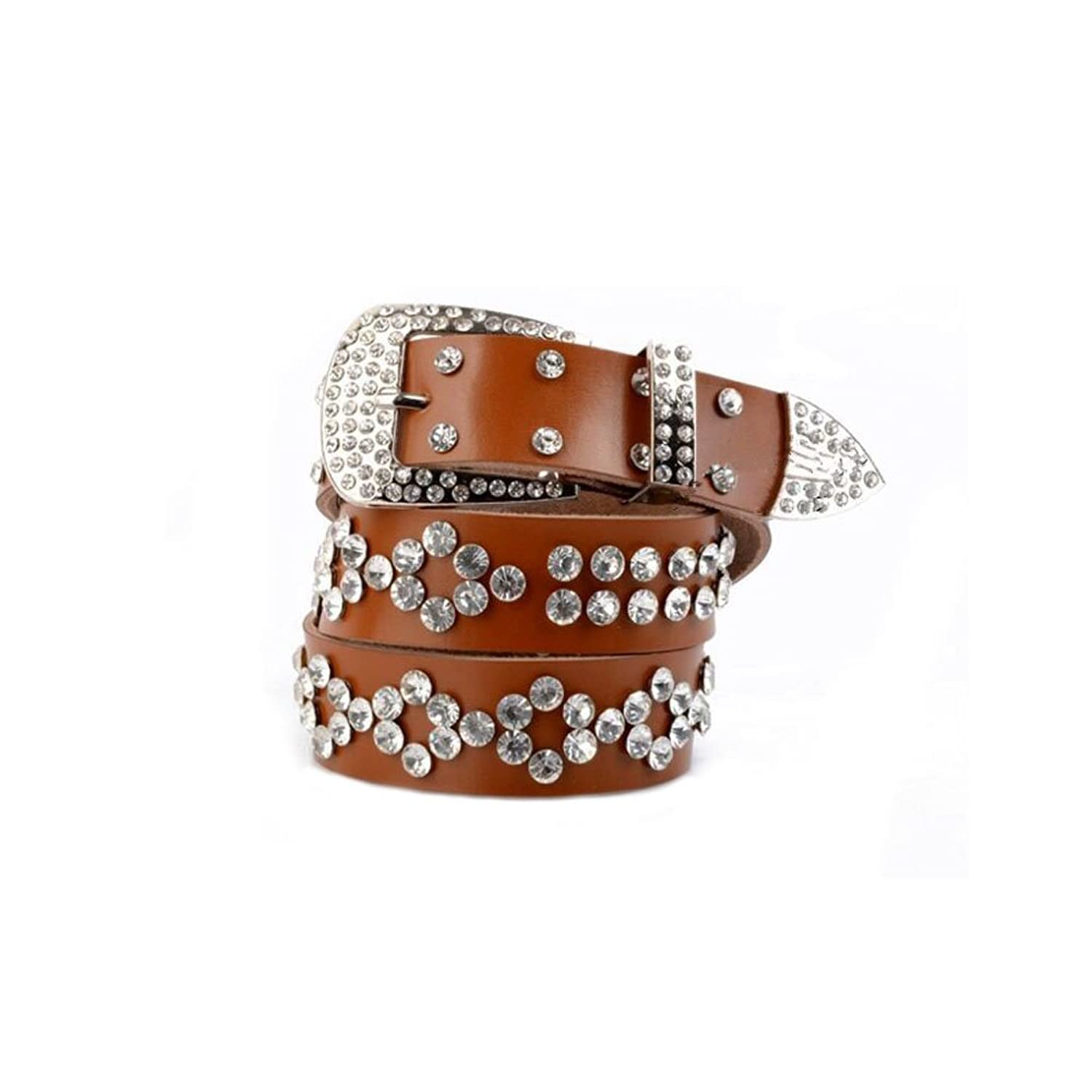 Sitong Women's fashion rhinestone pin buckle wide leather belt(6 colors)