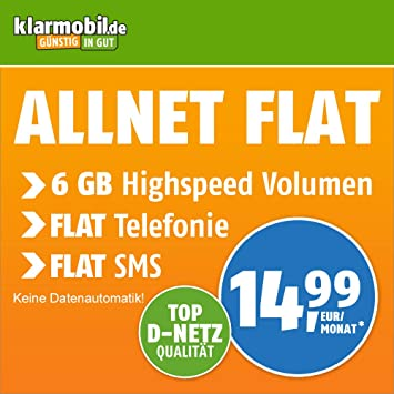 Klarmobil Sim Karte.Klarmobil Allnet Flat Xl Mit 6 Gb Internet Flat Max 21 6 Mbit S Telefonie Und Sms Flat In Alle Dt Netze Eu Flat 24 Monate Laufzeit 14 99 Eur