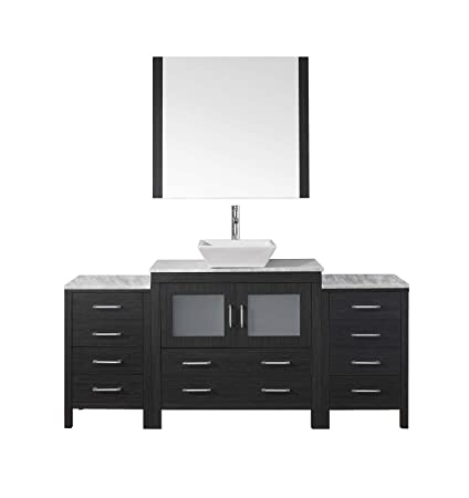 Virtu Usa Dior 72 Inch Single Sink Bathroom Vanity Set In Zebra Grey W Square Vessel Sink Italian Carrara White Marble Countertop Single Hole