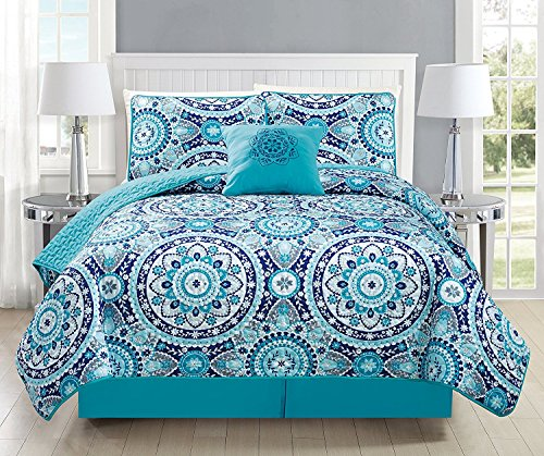 Fancy Collection 5pc Full/Queen Size Quilted Bedspread Coverlet Set Floral Turquoise Blue Gray Teal New