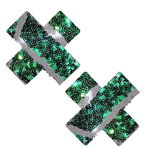 Neva Nude Poison Ivy Sequin Green Mesh X Factor Nipztix Pasties Nipple Covers