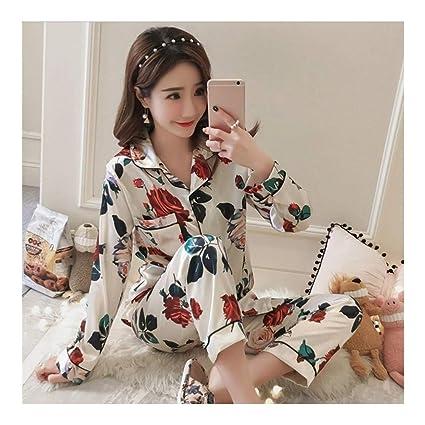799fc9ddf9 HAOLIEQUAN Moda Estampados Satinados Pijamas De Seda Conjuntos para Mujeres  Batas Trajes De 2 Piezas para
