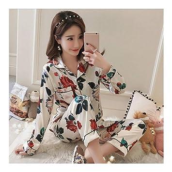 HAOLIEQUAN Moda Estampados Satinados Pijamas De Seda Conjuntos para Mujeres Batas Trajes De 2 Piezas para