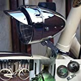 GOODKSSOP Metal Chrome Silver Shell Bright Classical Cool Bicycle Headlight Retro Vintage Bike LED Light Night Riding Safety Front Fog Head Lamp Headlamp