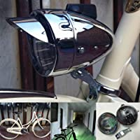GOODKSSOP Metal Chrome Silver Shell Bright Classical Cool Bicycle Headlight Retro Vintage Bike LED Light Night Riding…