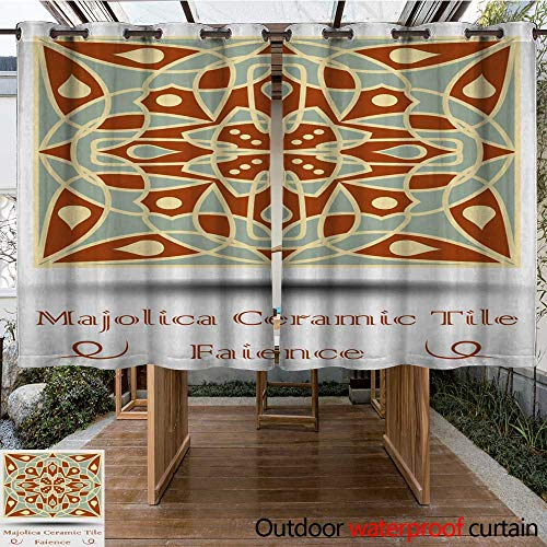 0utdoor Curtains for Patio Waterproof Majolica Ceramic Tile in Beige Olive Green and red Terracotta Vintage Ceramic Faience Traditional Spanish Glaze Pottery W96 x L72