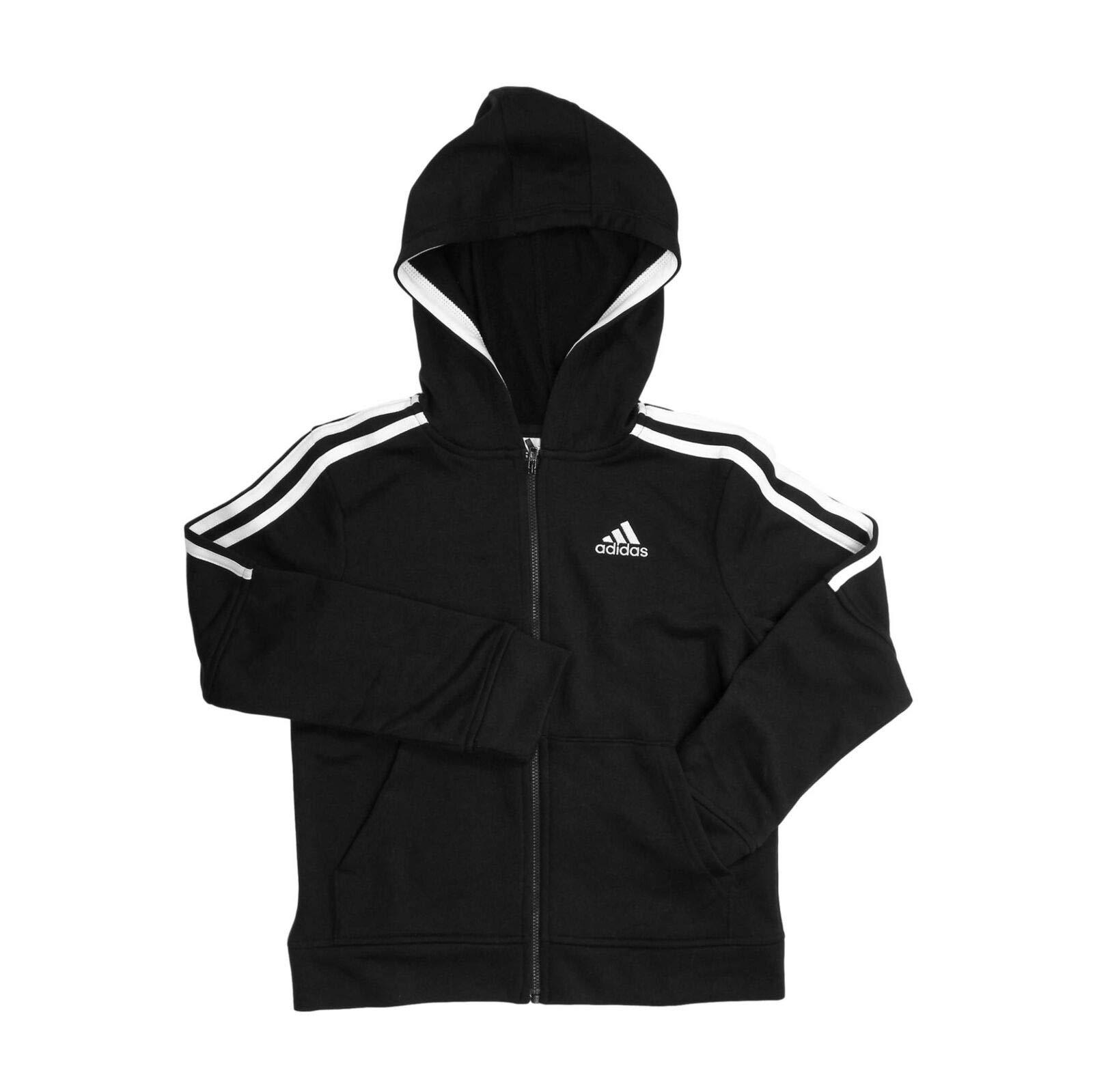 adidas Youth Boy's Full-Zip Three Stripe Hoodie,JC Black, S