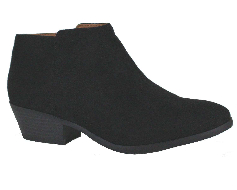 Soda Western Ankle Boot- Cowgirl Low Heel Closed Toe Casual Bootie ISU Black 9