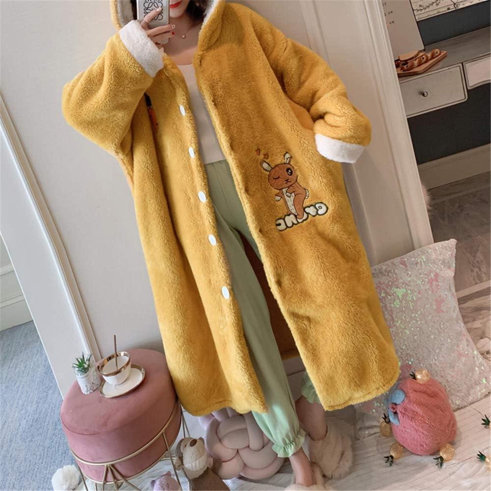 DUXIAODU Pijama de algodón para Mujer | Suave y cómodo | Elegante y Simple,Albornoz Dulce y Encantador de Franela A-1 M