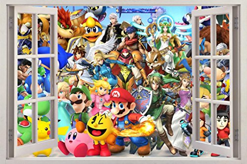 Super Smash Bros Mario Luigi Link 3D Window Decal Wall St...