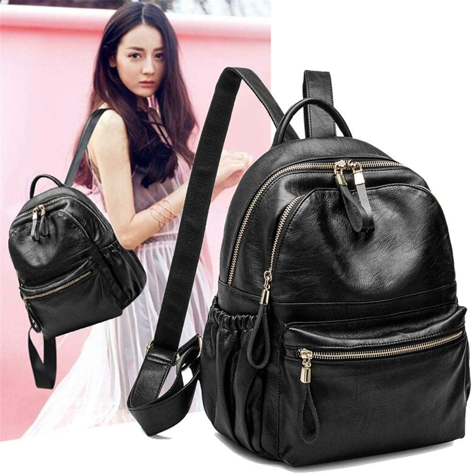 Backpack Womens Leather Large Capacity Backpack College Bag Fashion Travel Shoulder Bag Black 26/×14/×30CM Multipurpose Daypacks