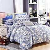 Vaulia Lightweight Microfiber Duvet Cover Set, Blue Floral Pattern Design - King Size - Best Reviews Guide