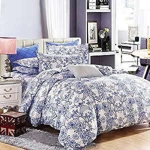 vaulia lightweight microfiber duvet cover set blue floral pattern design queen. Black Bedroom Furniture Sets. Home Design Ideas