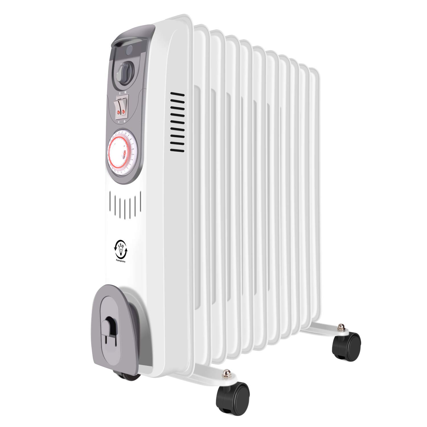 Famgizmo Oil Filled Radiator Portable Electric Heater with Thermostat and Timer 2500w 11 Fins White