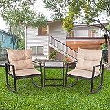 FDW Outdoor Bistro 3 Piece Patio Rocking Chair Wicker Conversation Set for Porch Poolside Lawn Backyard, Black