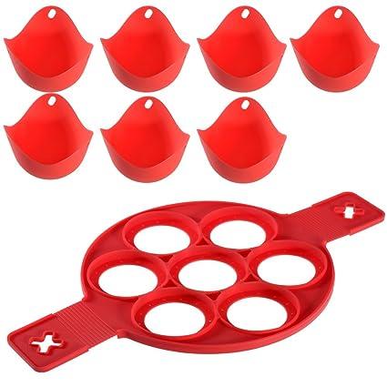 PChero fabricante de crema de silicona con 7 moldes + 7pcs Poachers de huevo de silicona