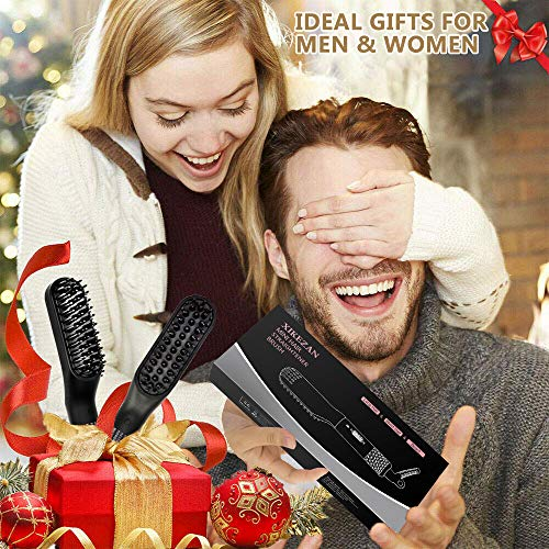 Beard Straightener w/FREE Beard Balm & Beard Growth Oil & Beard Guide E-Book,UPGRADED 3 in 1 Hair Straightener Brush Beard Straightening Comb,Unique Stocking Stuffers Gifts for Men Women Him