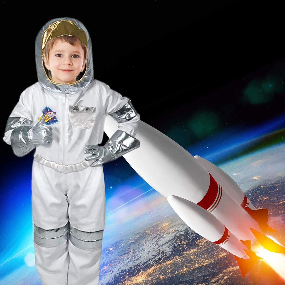 87b1d1a3cac Amazon.com  iBaste S Child Astronaut Costume Halloween Costumes Kids  Spaceman Suit Fancy Dress Up Role Play Set for Kids Jumpsuit Helmet Gloves  Name Tag ...