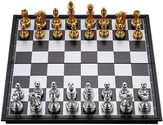 LEZDPP Piezas de Juegos de Mesa Ajedrez Plegable Plegable magnético del Tablero de ajedrez Junta Internacional Damas Ligero Juego en casa al Aire Libre (Size : 12.5 * 12.5 Inches): Amazon.es: Hogar