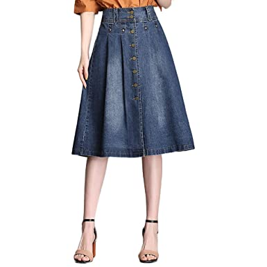 af40494fffb32 Nantersan Womens Button Front Midi Denim Jean Skirts High Waist A-Line  Flare Pleated Chic Skirt at Amazon Women s Clothing store