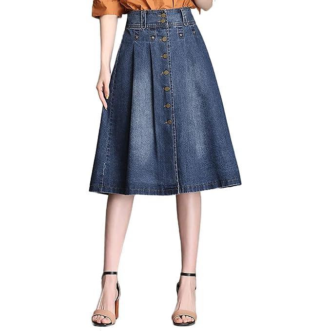 footwear great variety styles pre order Nantersan Womens Button Front Midi Denim Jean Skirts High ...