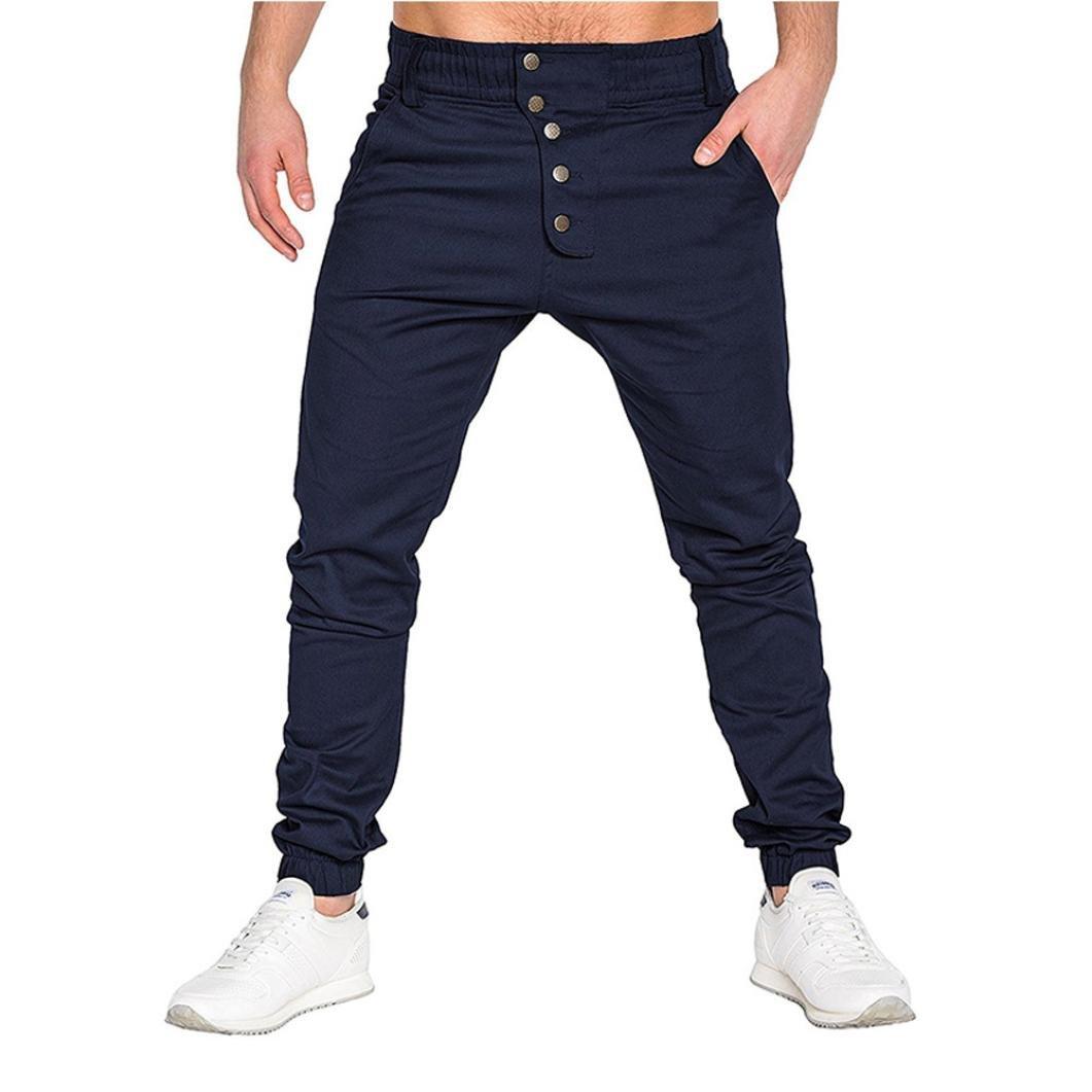 PASATO New!Fashion Men's Sport Pure Color Bandage Casual Loose Sweatpants Drawstring Pant Trousers(Navy,XXXL)