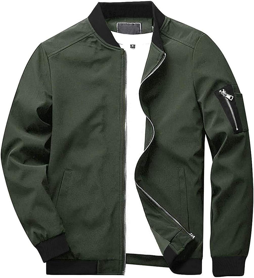 CASIVENT Mens Casual Athletic-Fit Bomber Jackets Full-Zip Lightweight Varsity Baseball Coats