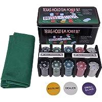 Walfront Texas Holdem, 200 fichas de póquer de plástico Juego de Mesa con Juego de Mesa Texas Holdem con Mantel para la Fiesta de Amigos de la Familia
