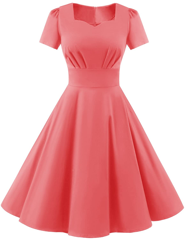 Dresstells Damen Vintage 50er Rockabilly Kurzarm Swing Kleider ...