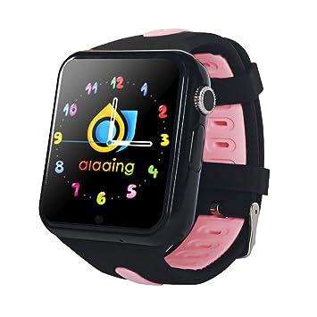 RedshooeYY Kids Smart Watch V5K GPS Ubicación Deporte Niños Reloj inteligente a prueba de agua Teléfono del bebé Soporte Tarjeta SIM Cámara (Negro y azul): ...
