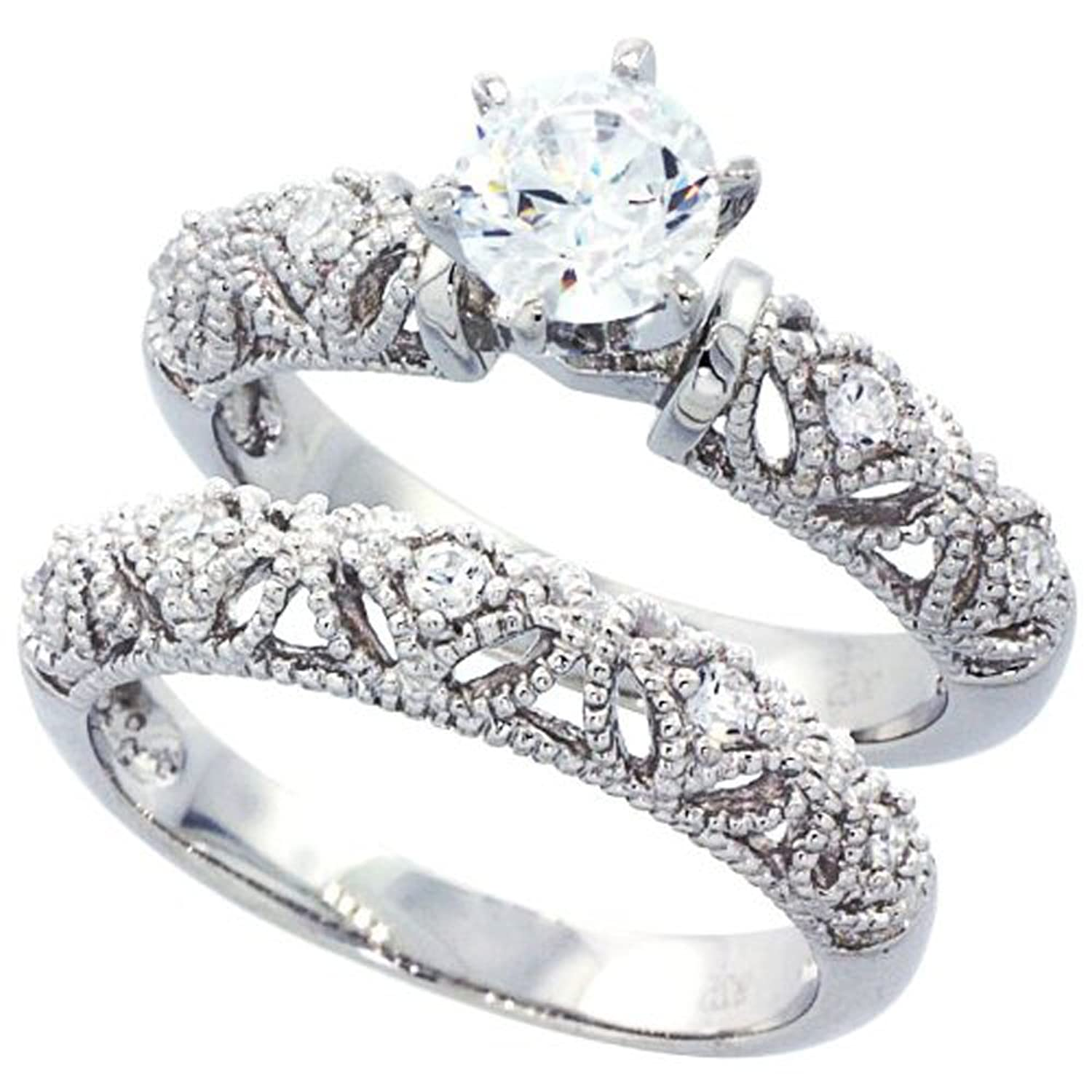 amazoncom sterling silver wedding ring set round cz engagement ring 2pcs vintage bridal sets size 5 to 10 jewelry - Silver Wedding Rings