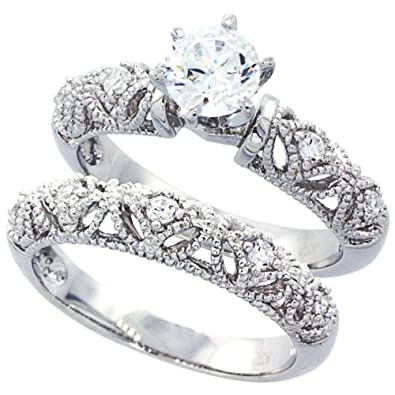 sterling silver wedding ring set round cz engagement ring 2pcs vintage bridal sets size - Sterling Silver Diamond Wedding Ring Sets